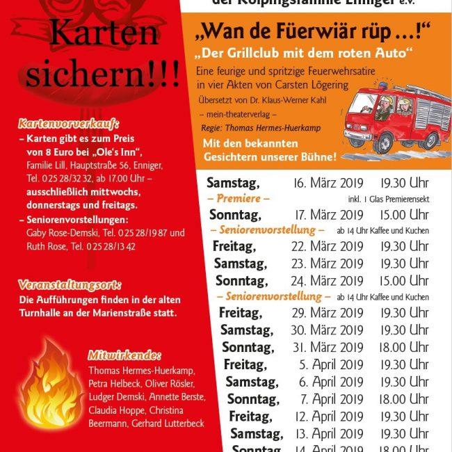 """""""Wan de Füerwiär röp…"""" präsentiert von der Kolping Enniger (22.03. bis 14.04.2019)"""