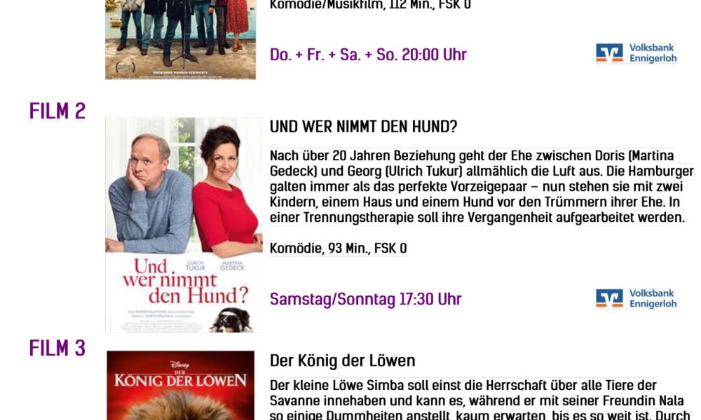 Kinoprogramm vom 12.09. – 15.09.